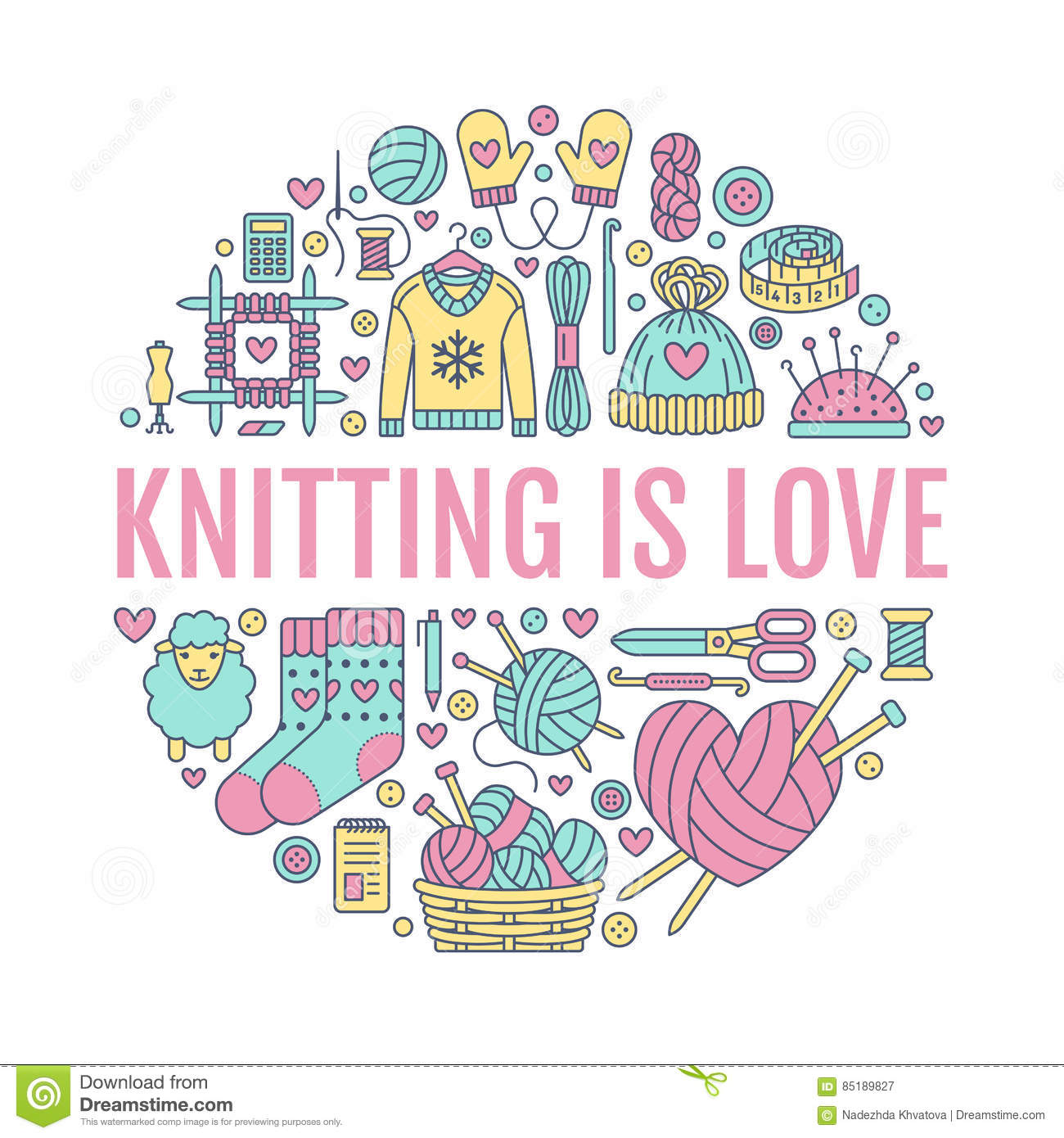 Knitting, crochet, hand made banner illustration. Vector line icon needle, hook, scarf, socks, pattern, wool skeins an
