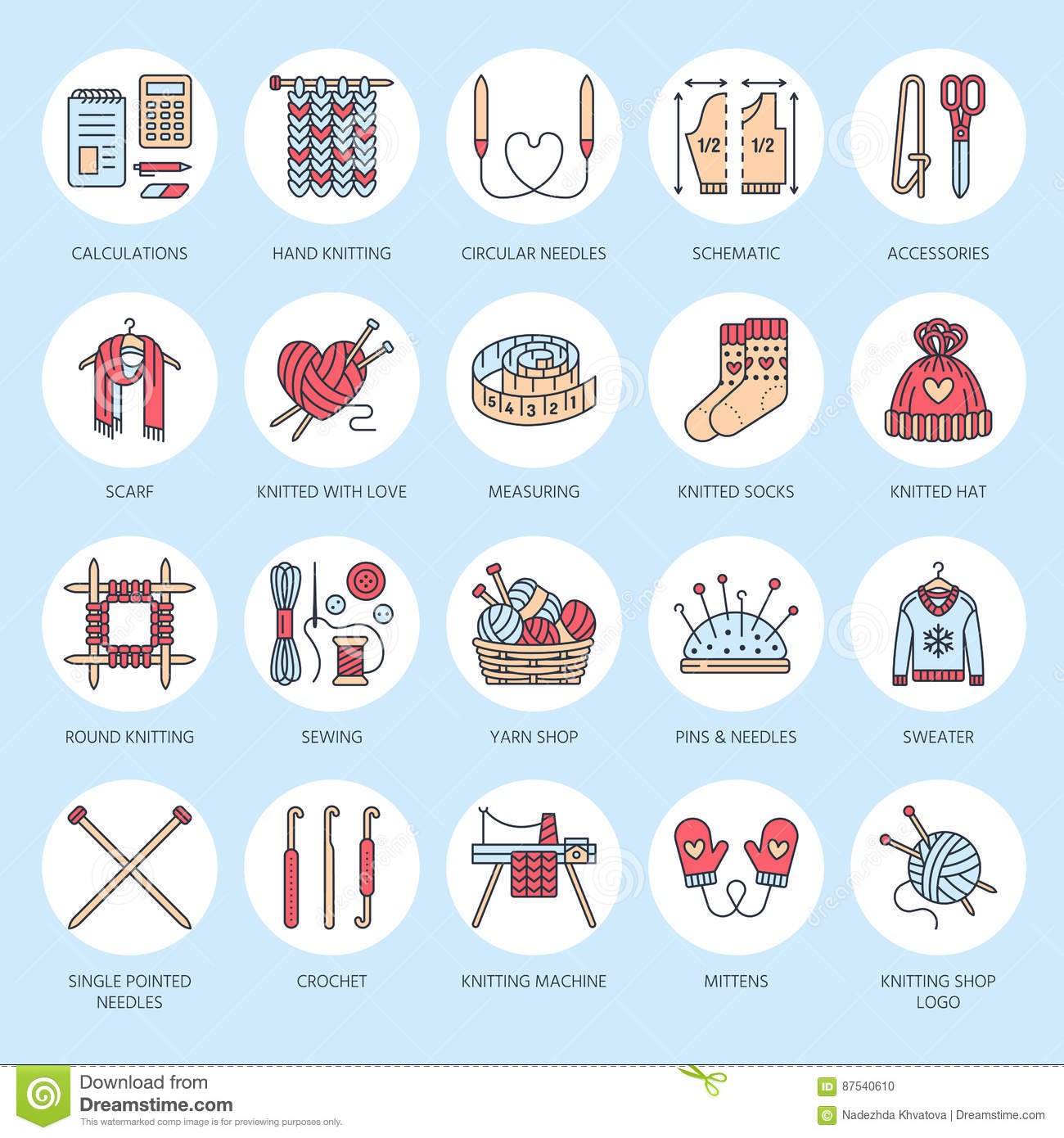 Knitting, crochet, hand made line icons set. Knitting needle, hook, scarf, socks, pattern, wool skeins and other DIY