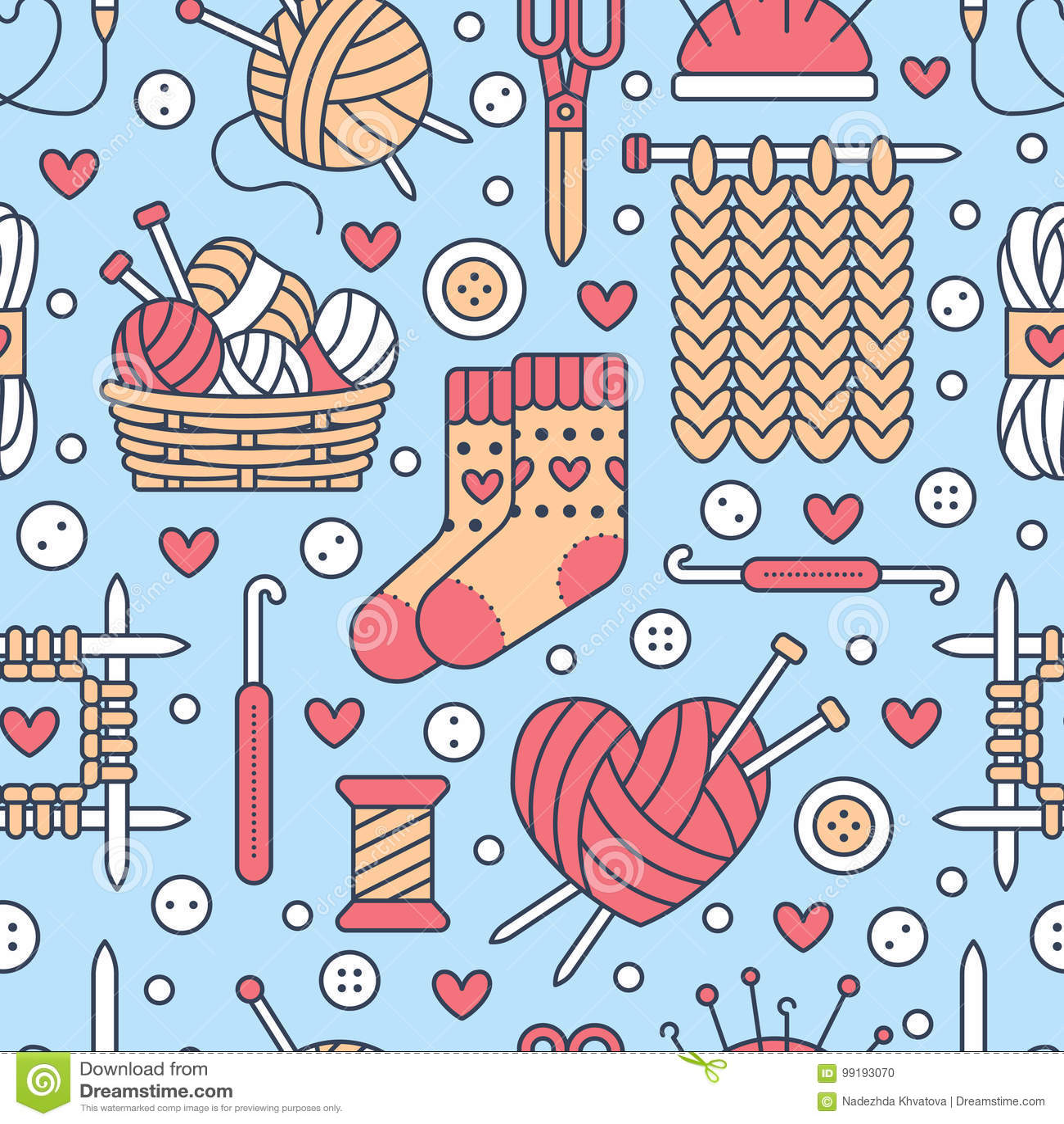 Knitting, crochet seamless pattern.