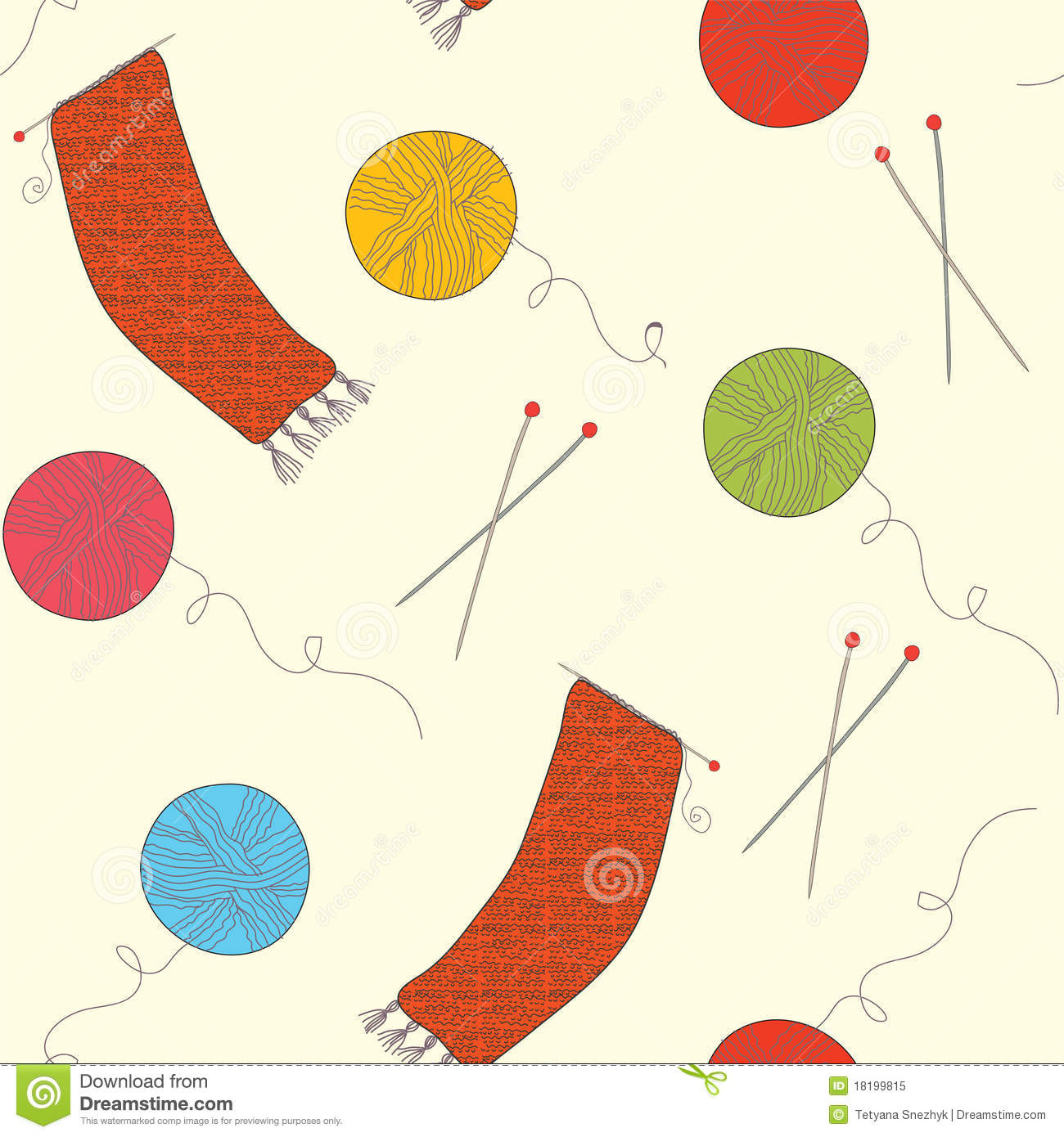 Funny Knitting Patterns : Knitting funny seamless pattern stock vector image