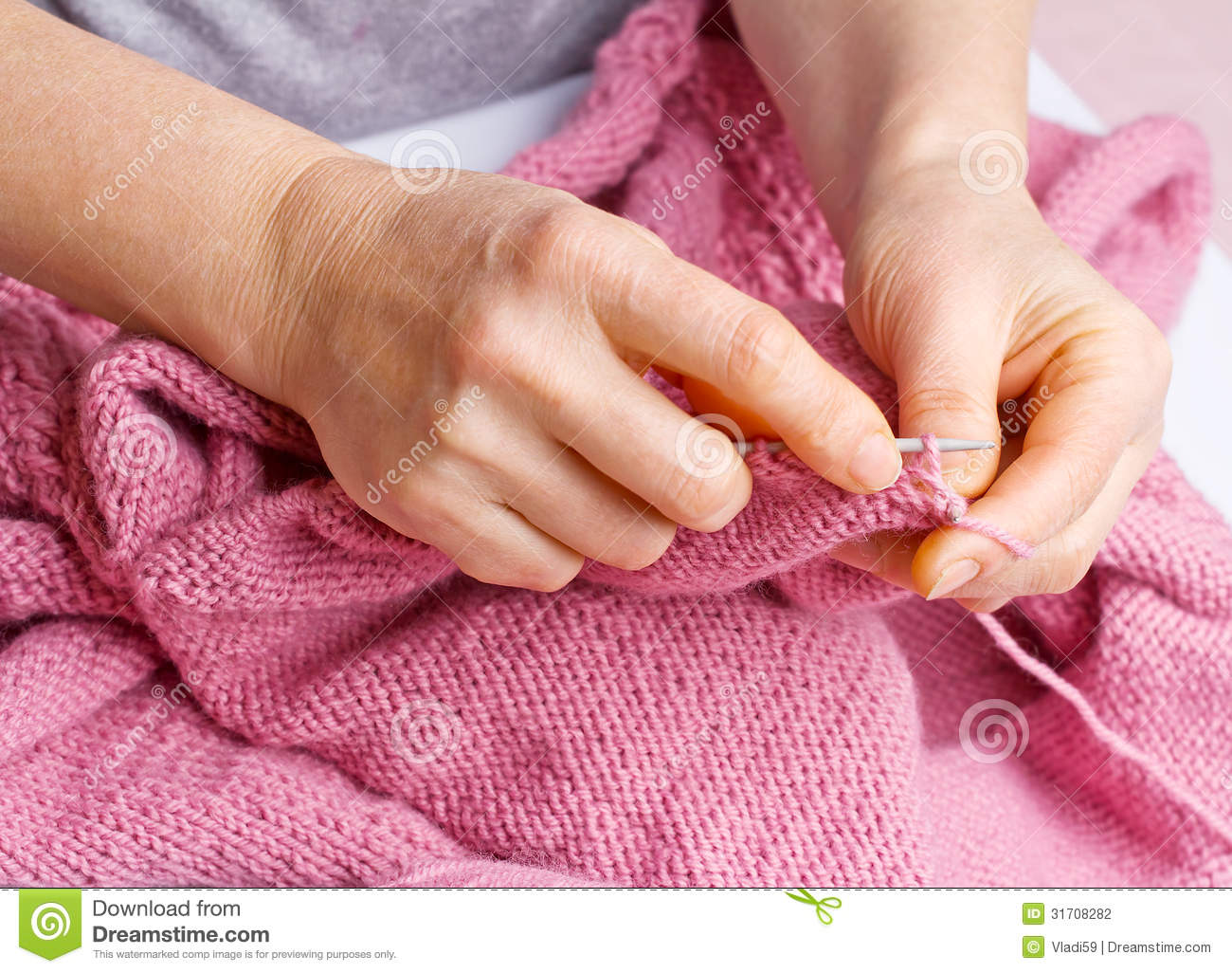 Knitting With Hands Only : Knitting stock photography image