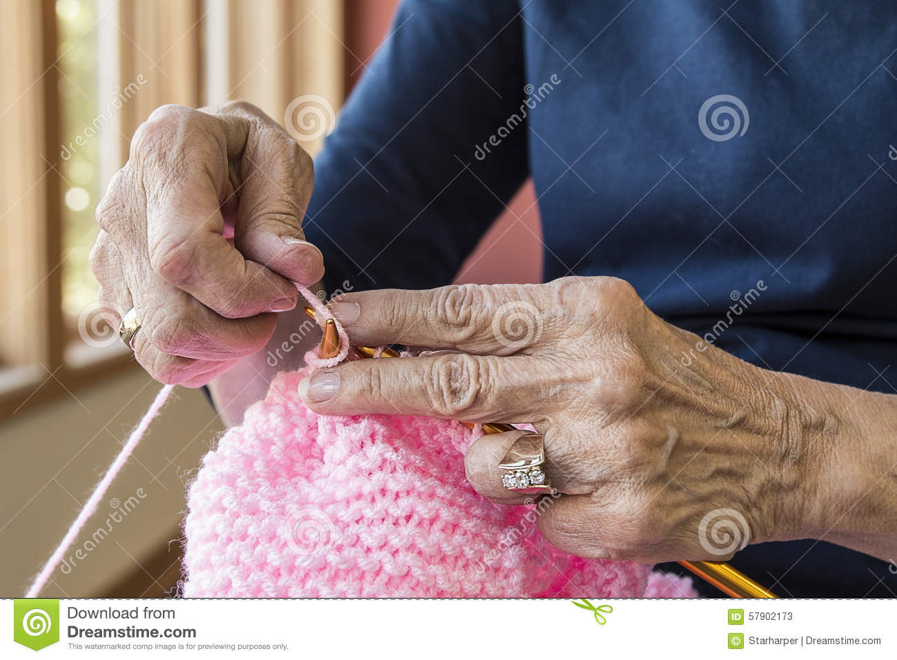 Knitting With Hands Only : Knitting hands stock photo image