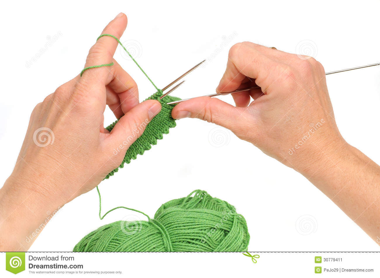 Knitting With Hands Only : Knitting stock image