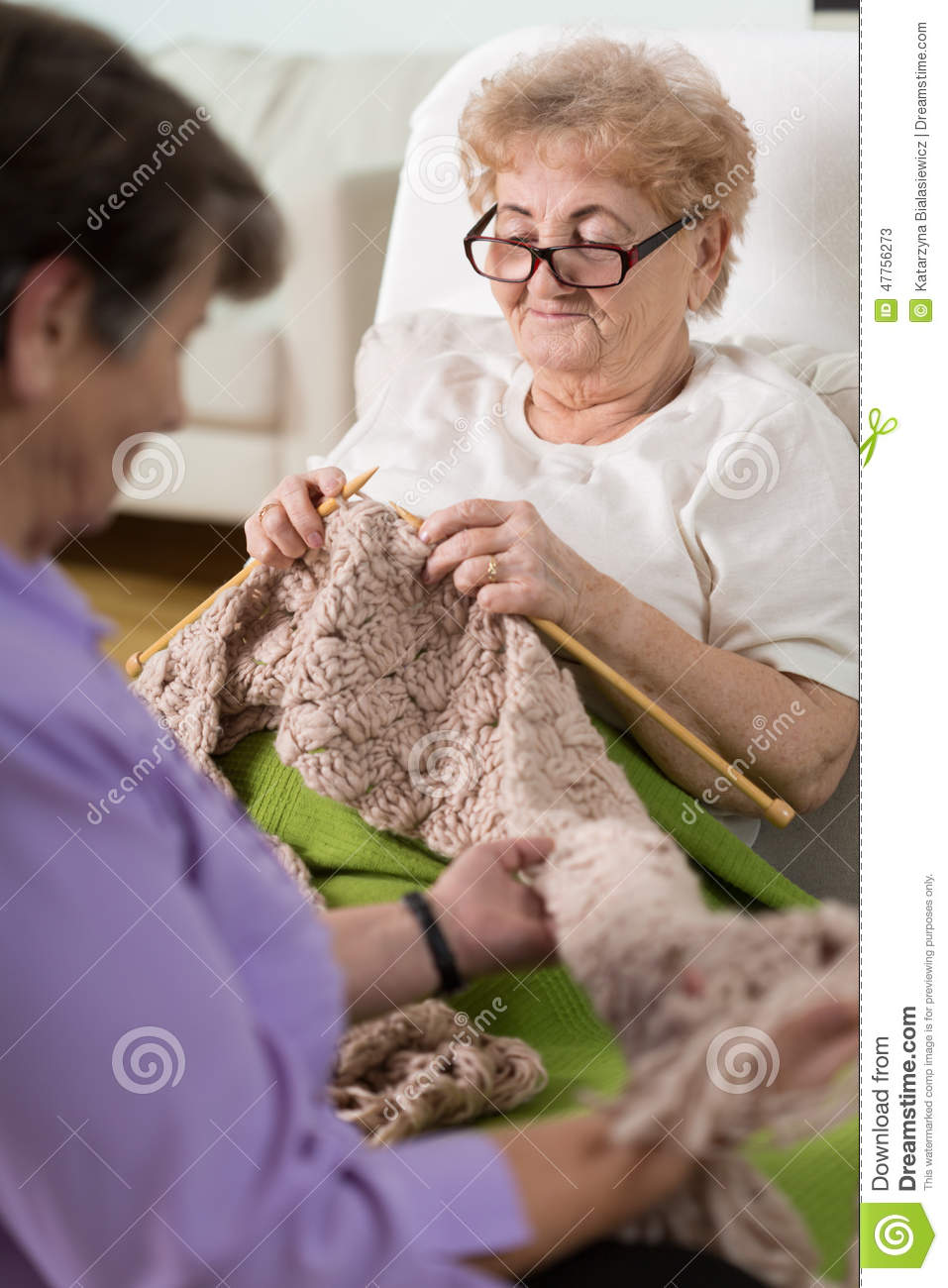 Knitting In Bed : Knitting in hospital bed stock photo image