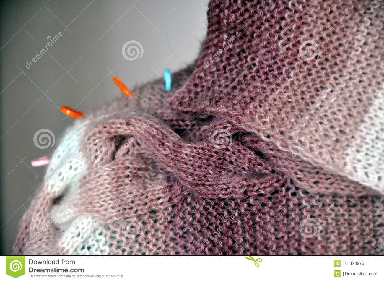 Knitting from a furry yarn stock photo  Image of style - 101124976