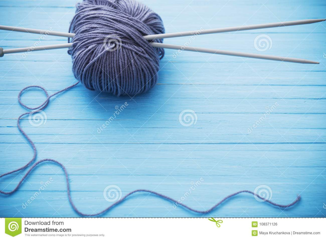 Knitting And Knitting Needles On Wooden Surface Stock Photo Image