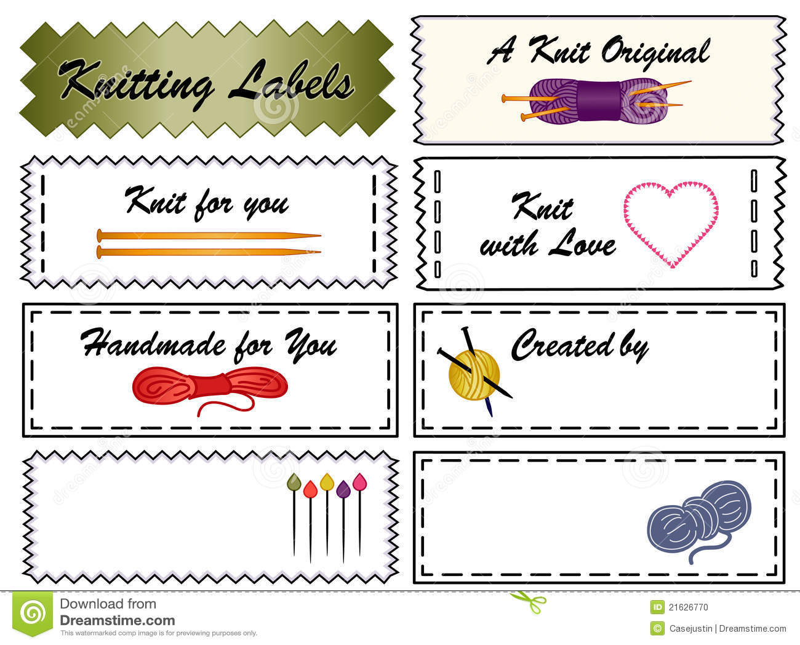 Knitting Labels Free : Knitting labels stock photo image