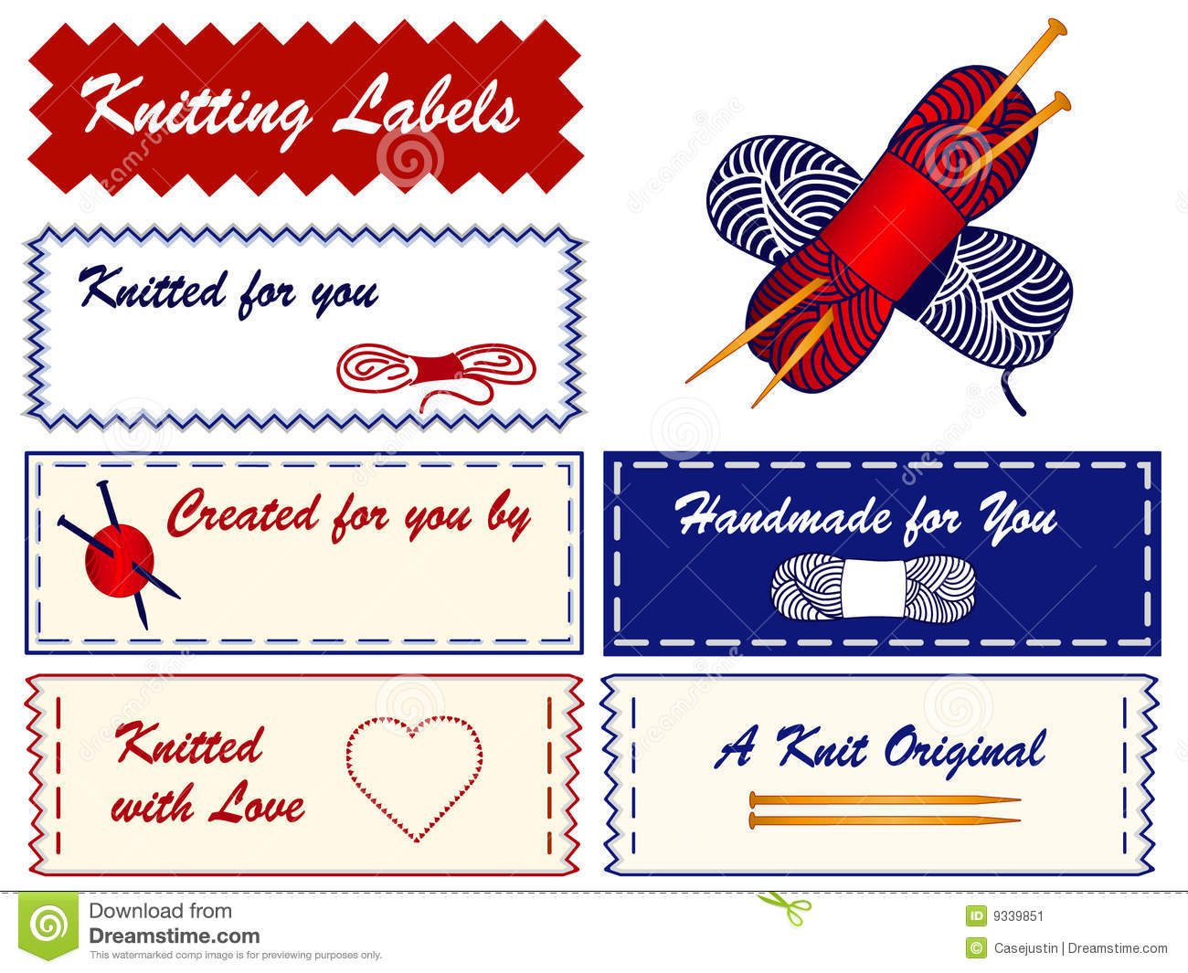 Knitting Labels Free : Knitting labels stock vector image of cutting blue