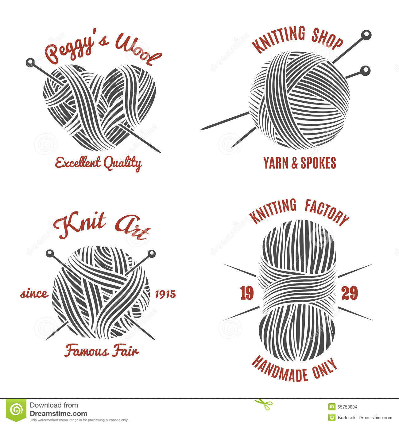knitting labels and knitwear logo stock vector image