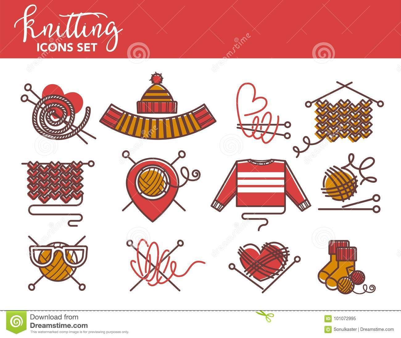 Knitting Logo Templates Of Knitted Clothing Or Yarn Knitwear Stock