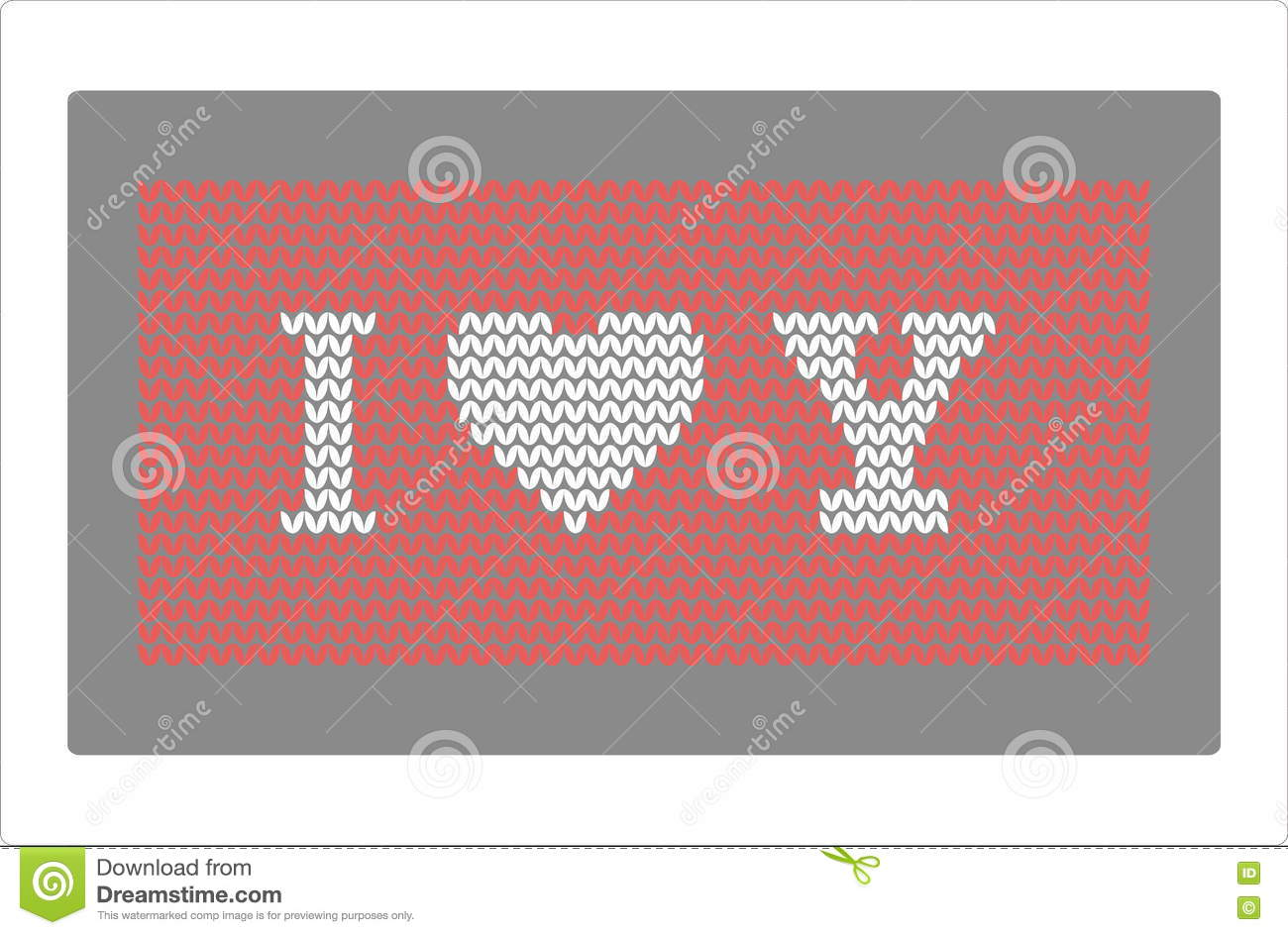 Knitting Pattern I Love You Stock Vector - Illustration of craft ...