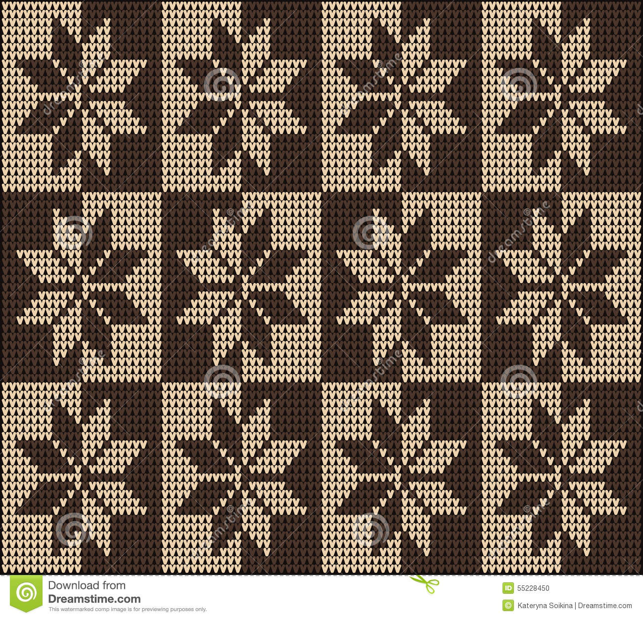 Knitting Pattern Seamless Sweater Brown Ornament Stock Vector ...