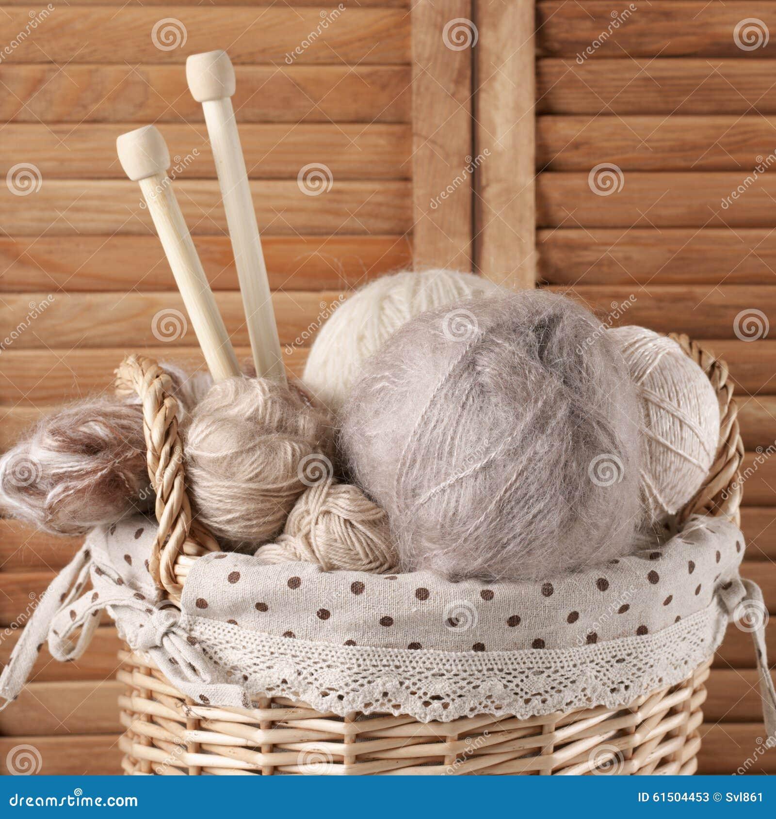 Knitting Set : Knitting set in basket royalty free stock image