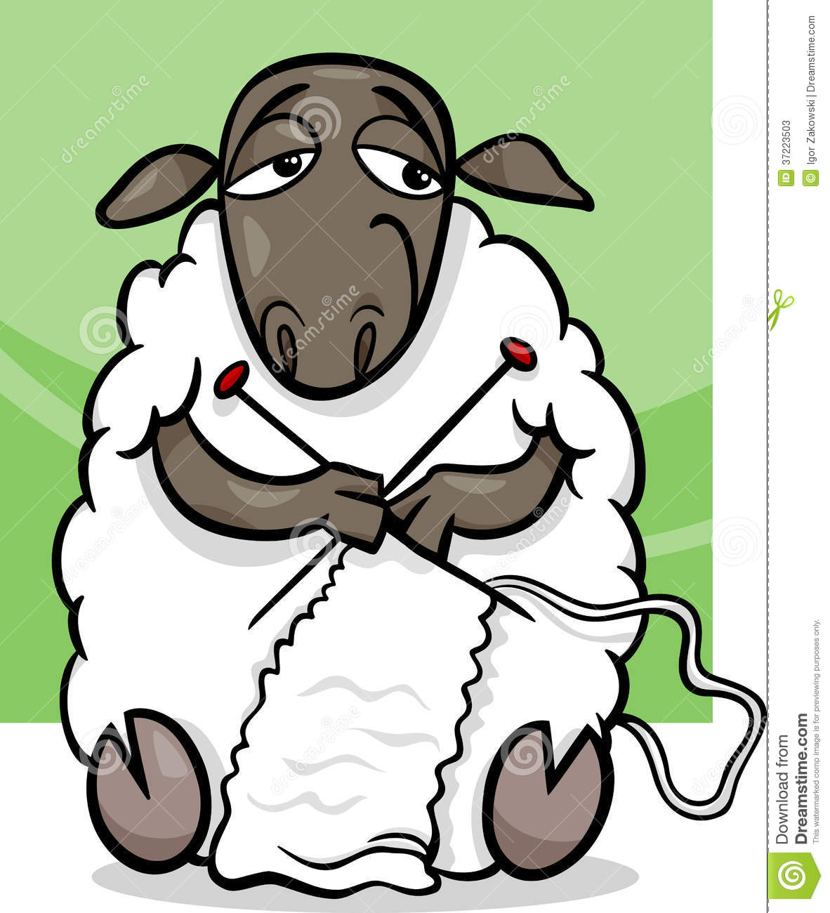 Knitting Cartoons Pictures : Knitting sheep cartoon illustration stock vector image