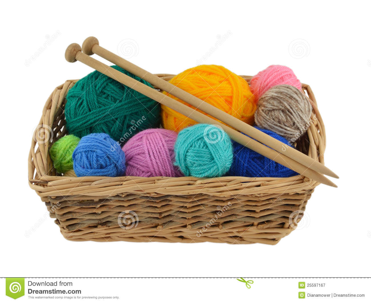 Knitting Patterns Wool And Needles : Knitting Wool And Needles In Basket Royalty Free Stock ...