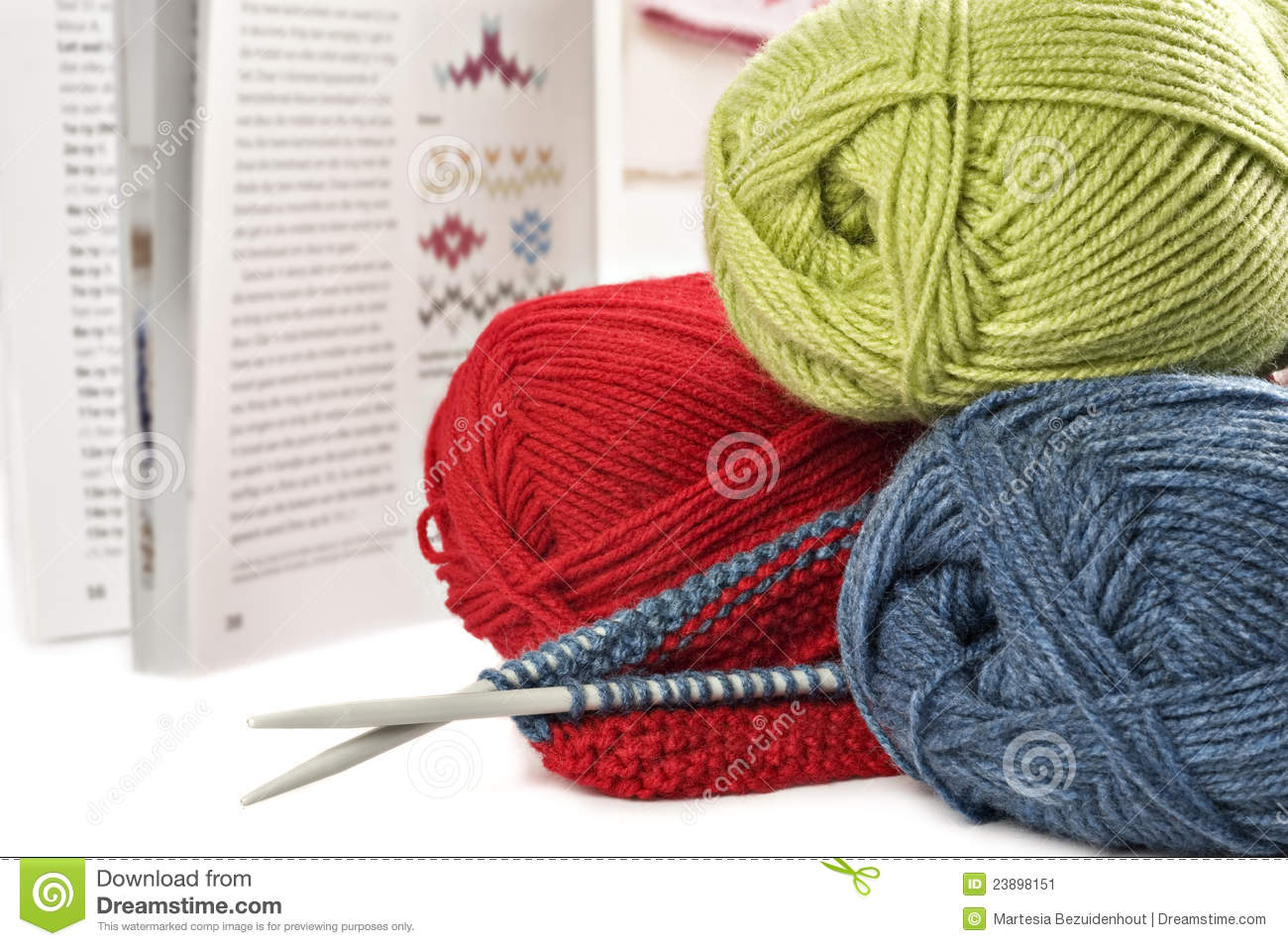 Knitting Pattern Book : Knitting Wool And Pens With Pattern Book Stock Image - Image: 23898151