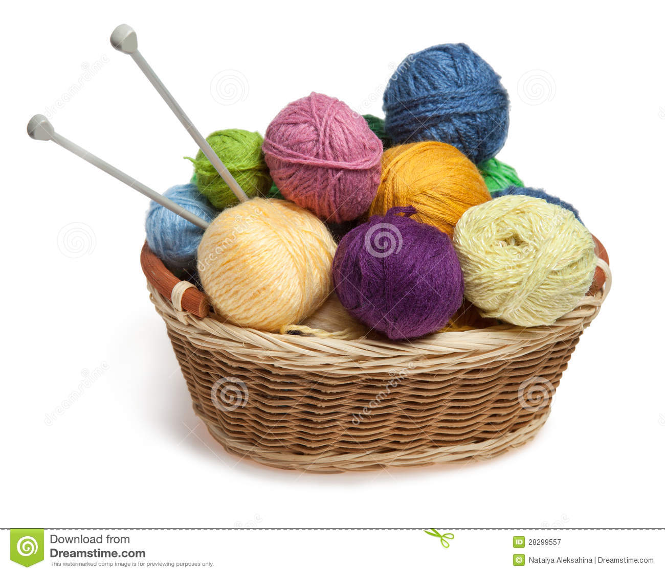 knitting yarn balls and needles in basket royalty free