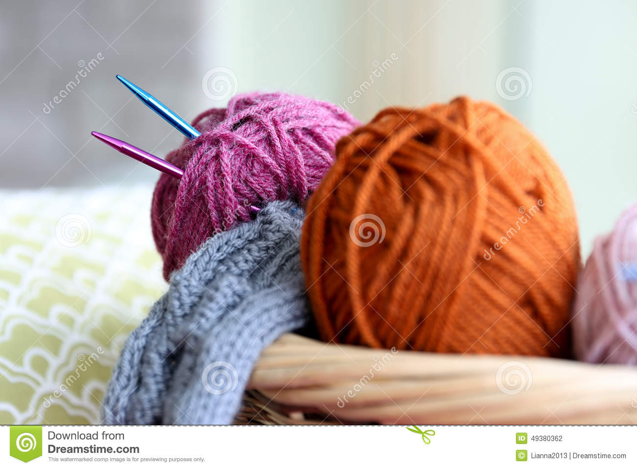 Knitting Yarn Balls And Needles In Basket Stock Photo ...