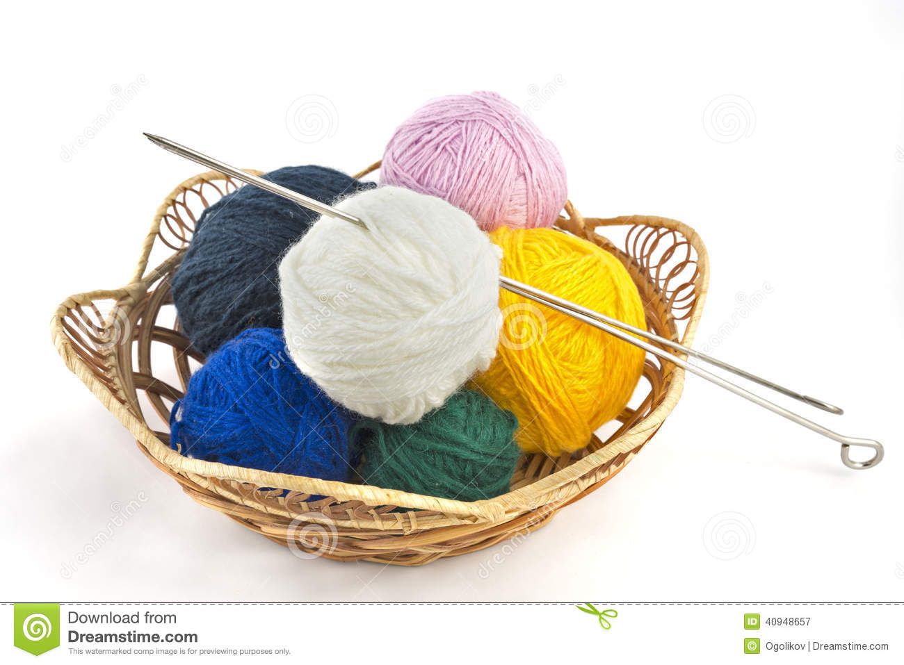 Knitting Basket Yarn : Knitting yarn balls and needles in basket on a white