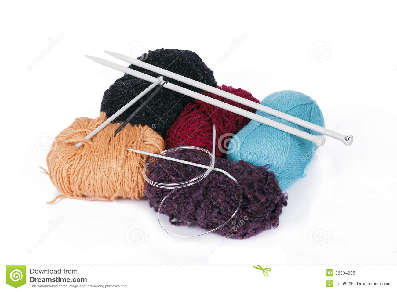 Knitting Needles No : Knitting yarn and needles royalty free stock