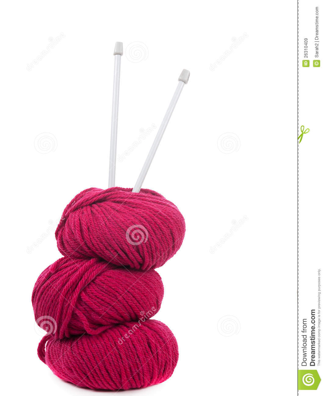 Knitting Needles And Yarn Weight : Knitting yarn and needles vertical composition royalty
