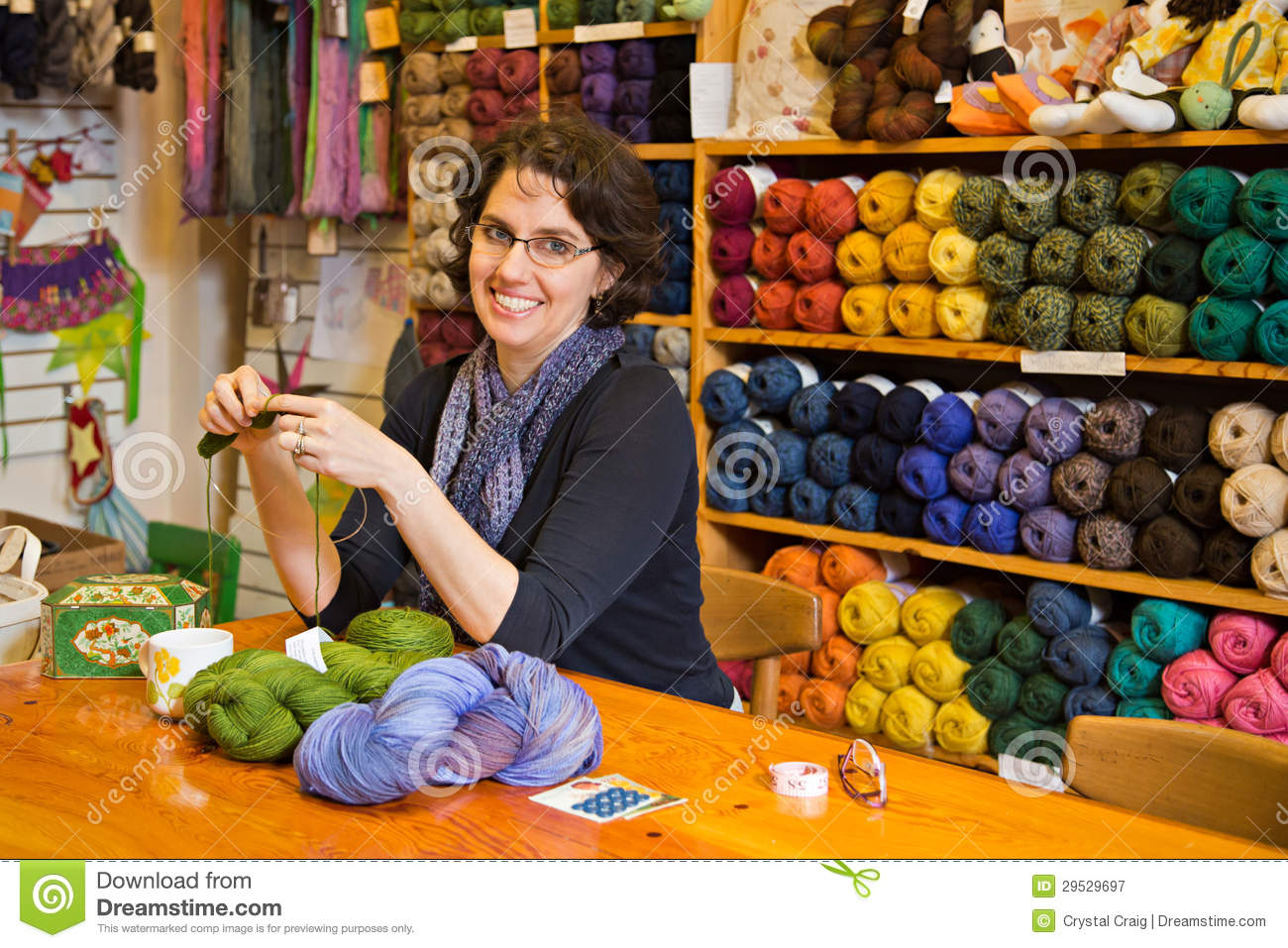 Knitting in a yarn shop