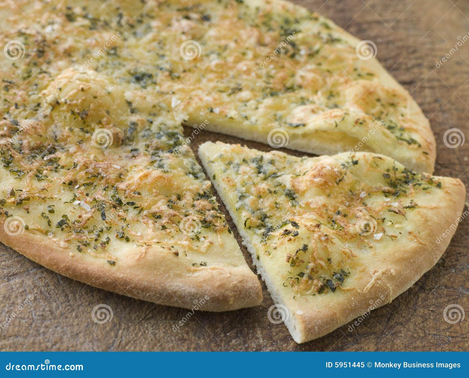 knoblauch pizza brot stockbild