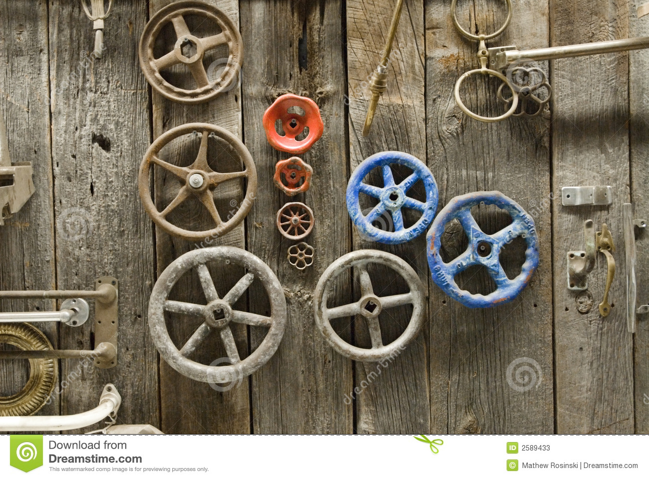 Knobs And Handles On Barn Door Stock Image Image Of Blue Aged