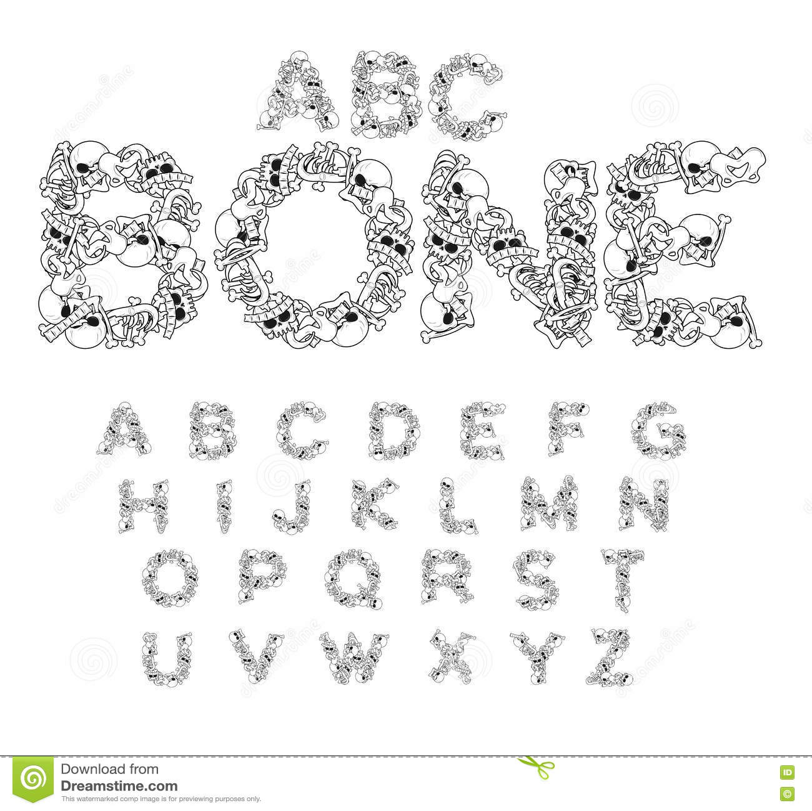 Knochen ABC Skeleton Guss Beschriftet Anatomie Schädel Und Dorn ...