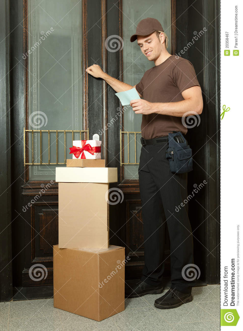 knocking on the door stock image  image of card  delivery