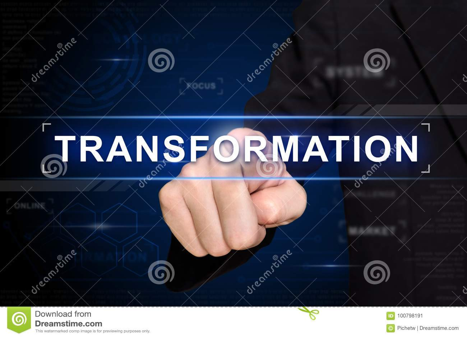Knoop van de bedrijfshand de duwende transformatie op het virtuele scherm