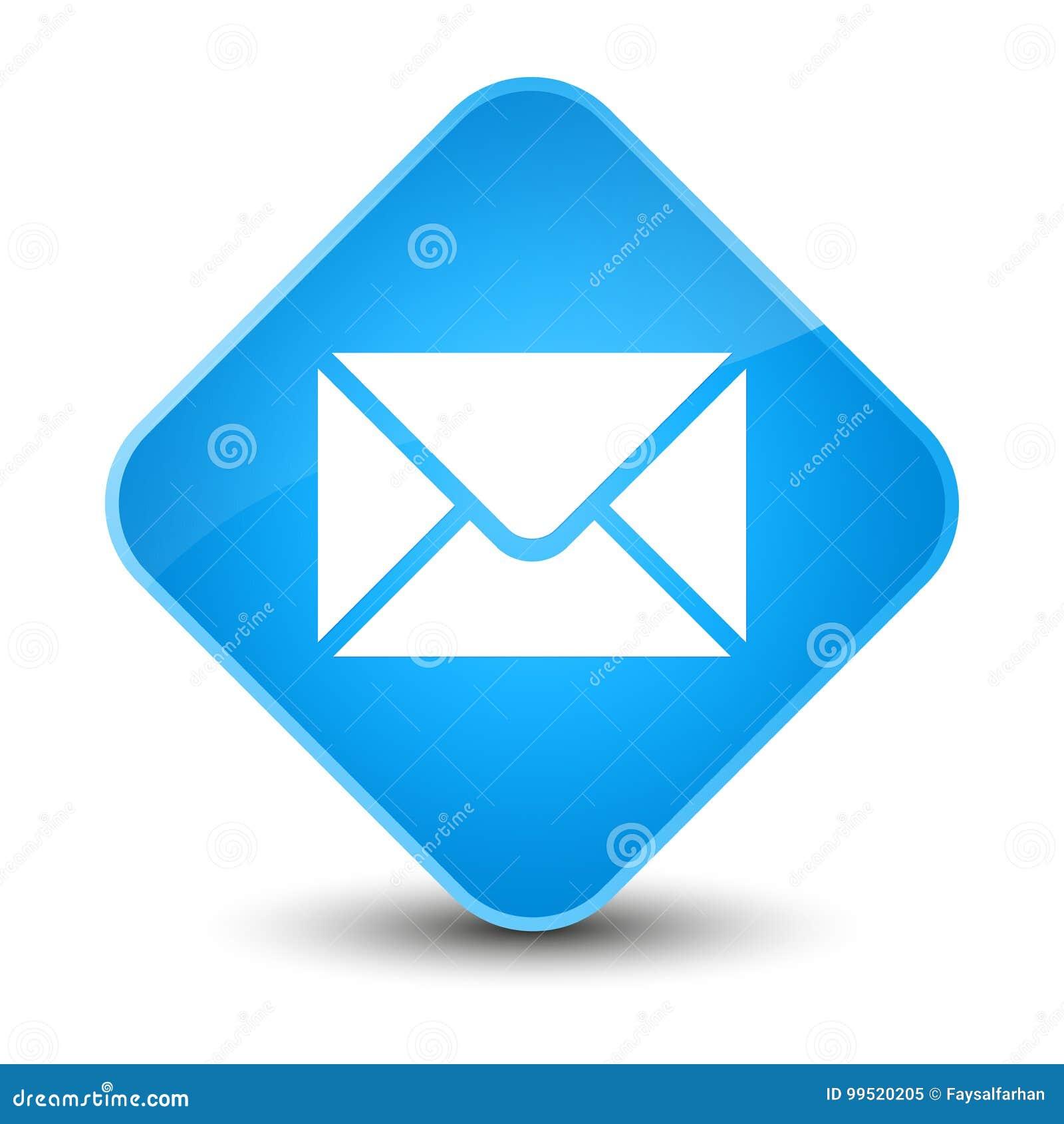 Knoop van de e-mailpictogram de elegante cyaan blauwe diamant