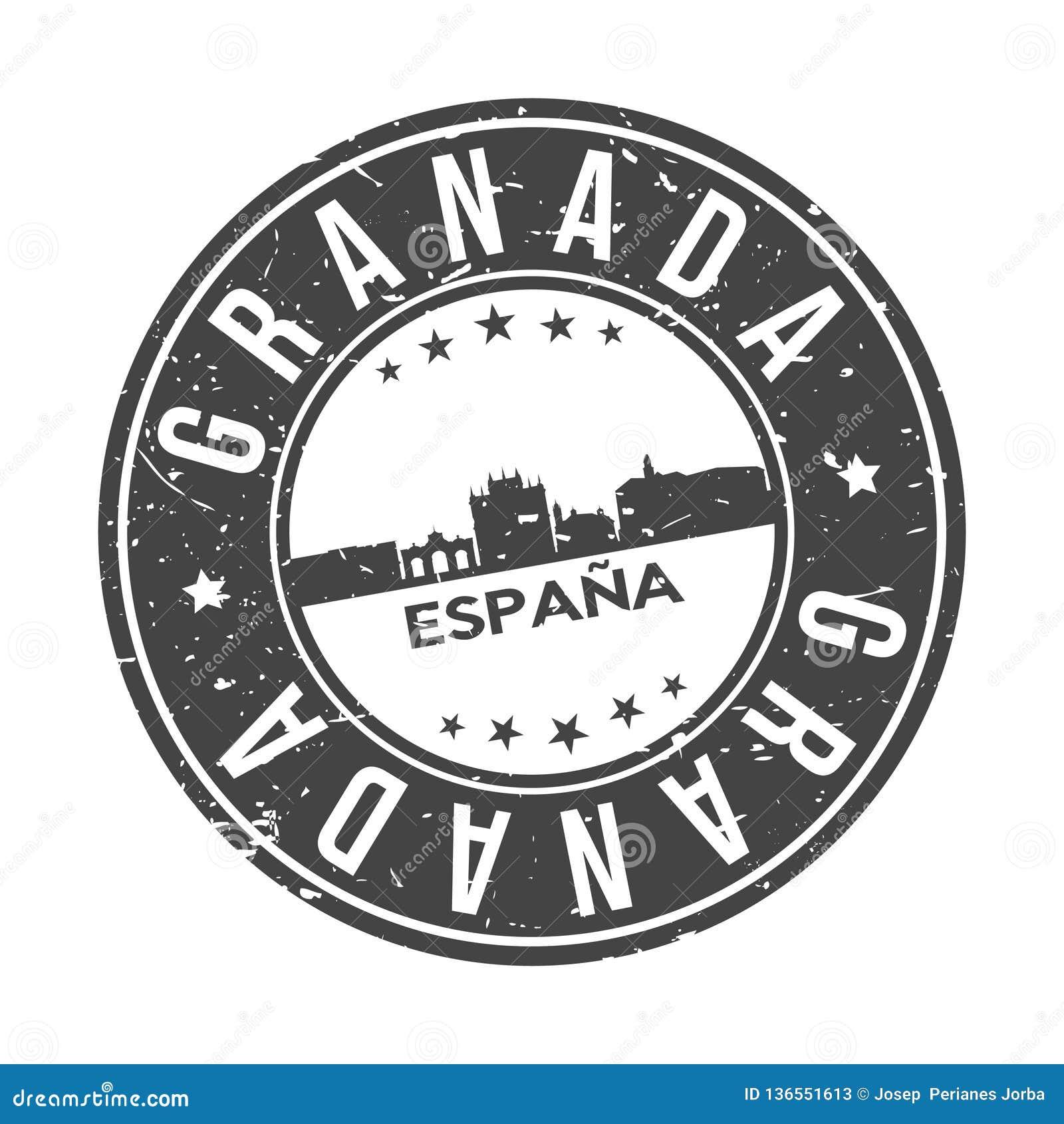 Knopf-Stadt-Skyline-Entwurfs-Stempel-Vektor-Reise-Tourismus Granadas Andalusien Spanien um