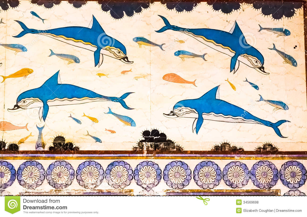 Knossos dolphins royalty free stock photos image 34569698 for Dolphin mural knossos