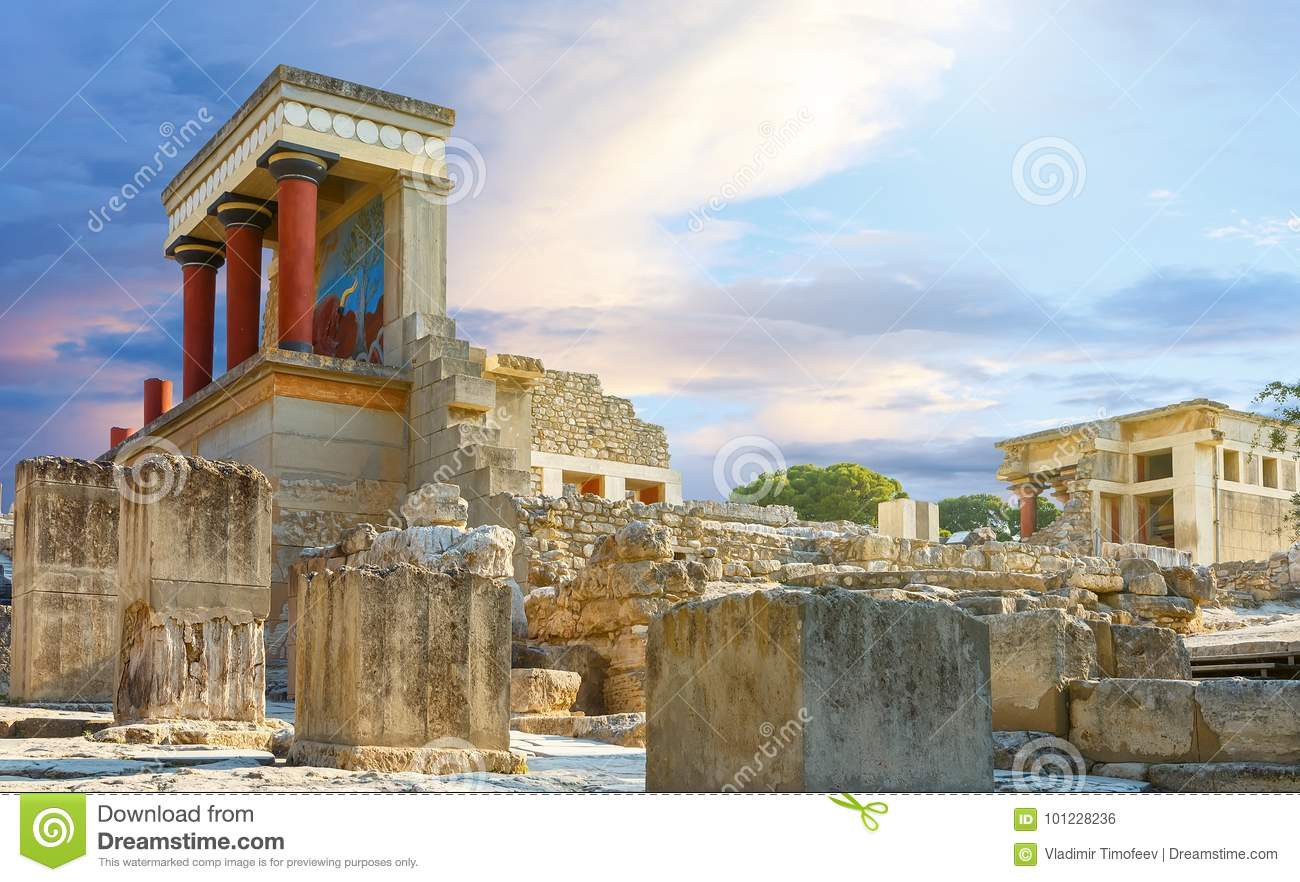 Knossos palace at Crete, Greece Knossos Palace, is largest Bronze Age archaeological site on Crete and the ceremonial