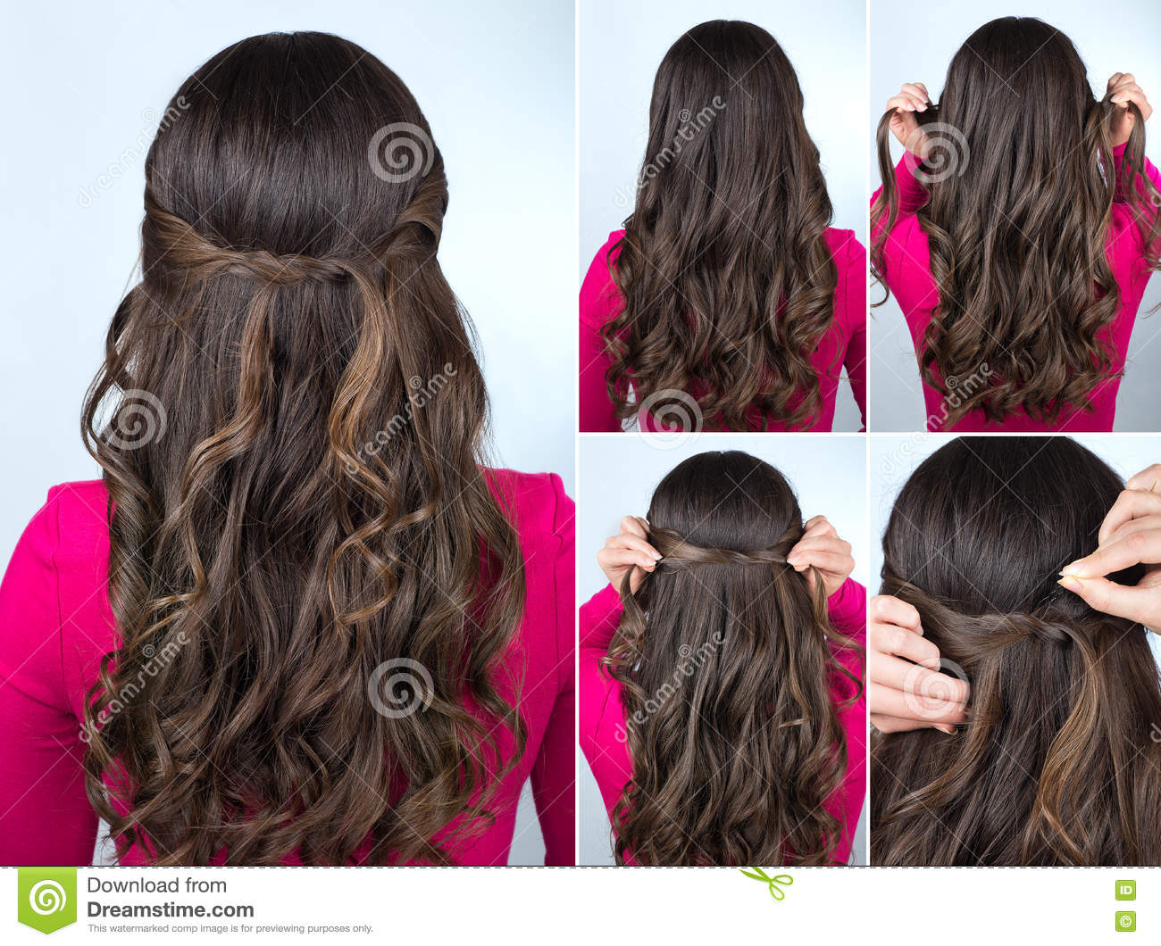 Knotted Hairstyle On Curly Hair Tutorial Stock Photo Image Of