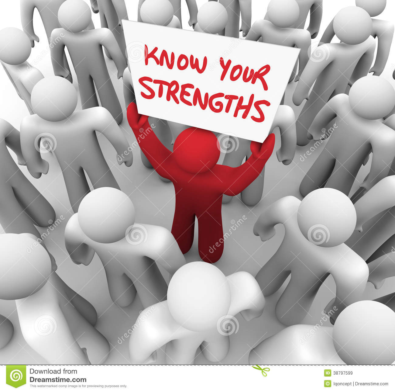 know your strengths man holding sign abilities stock illustration know your strengths man holding sign abilities