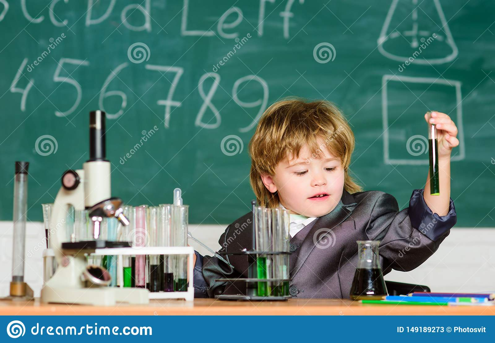 Knowledge concept. Knowledge day. Inspiration for investigations. Kid study biology chemistry. Basic knowledge primary