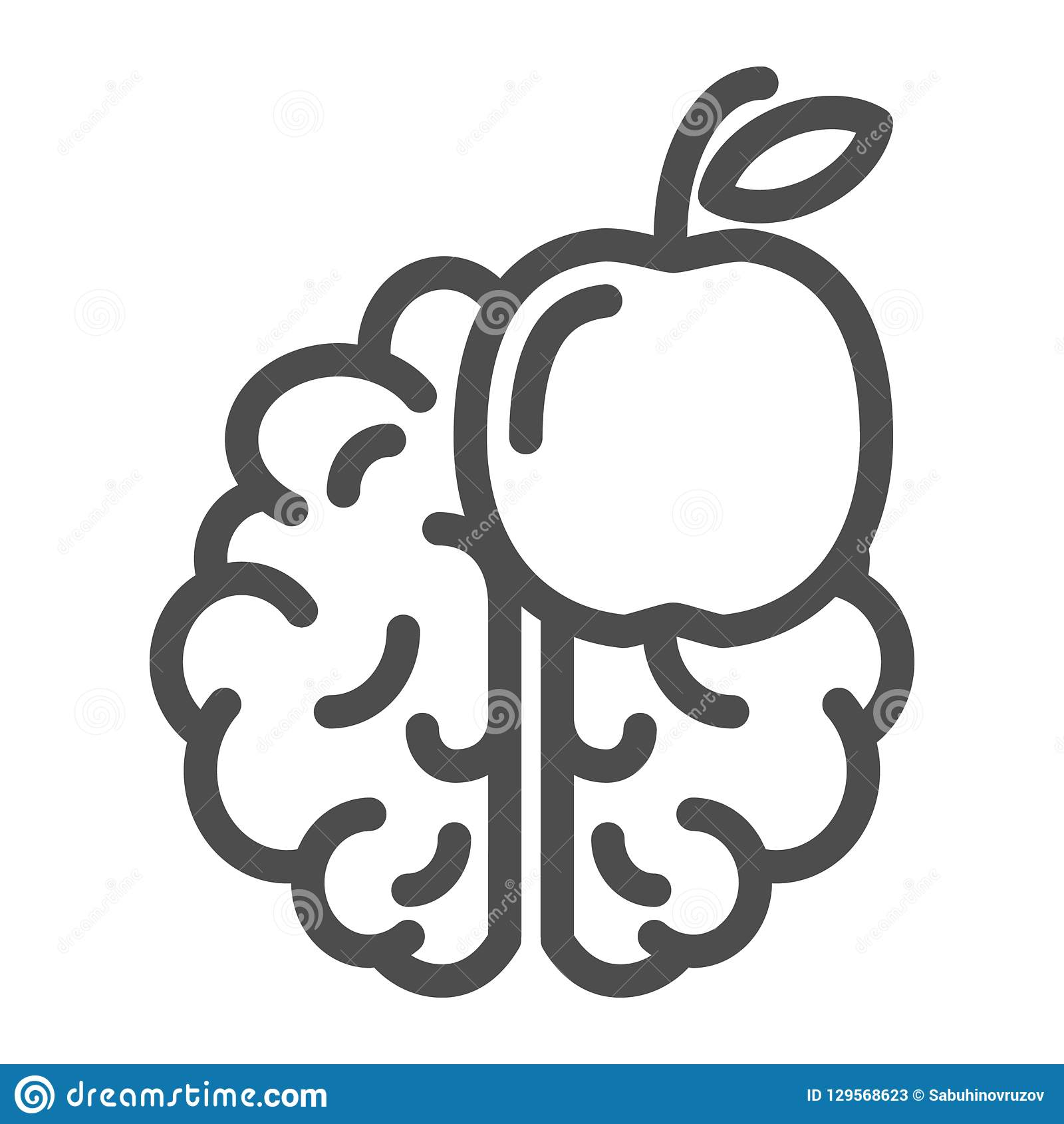 Knowledge Line Icon  Brain And Apple Vector Illustration