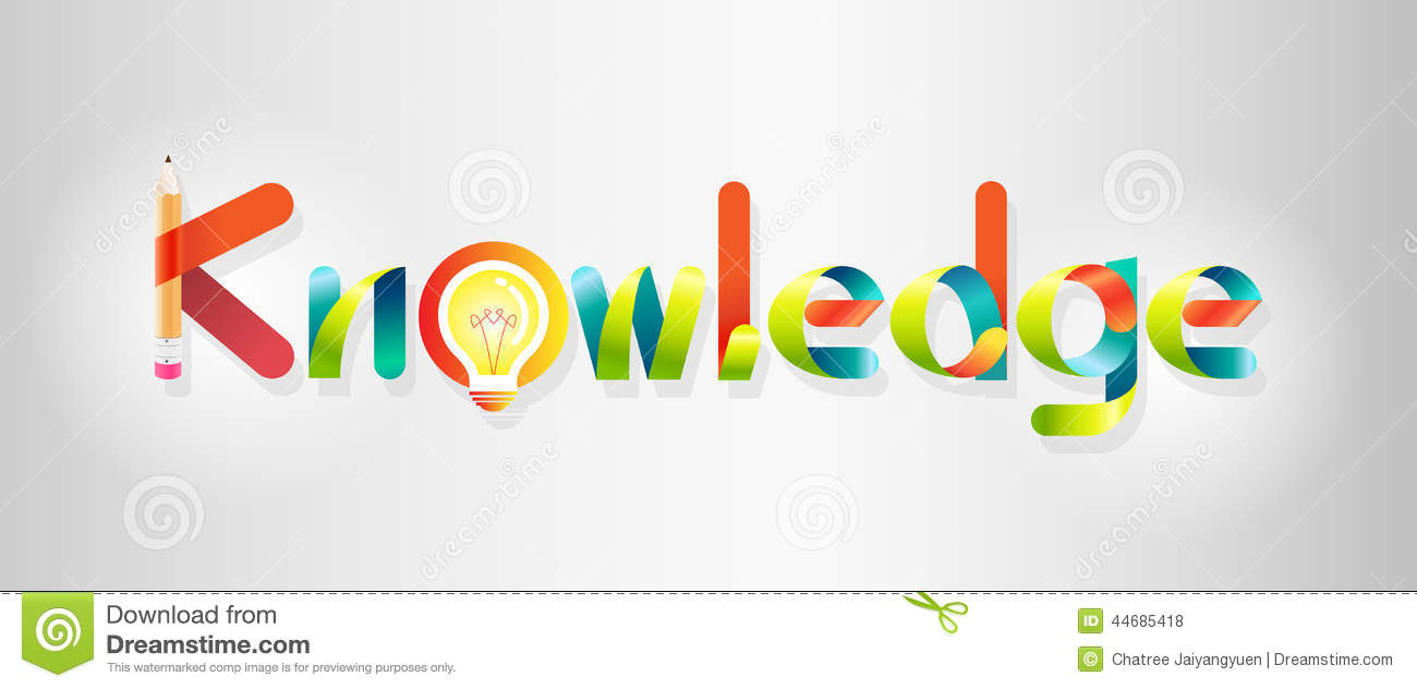 knowledge logo colorful graphic and font style stock