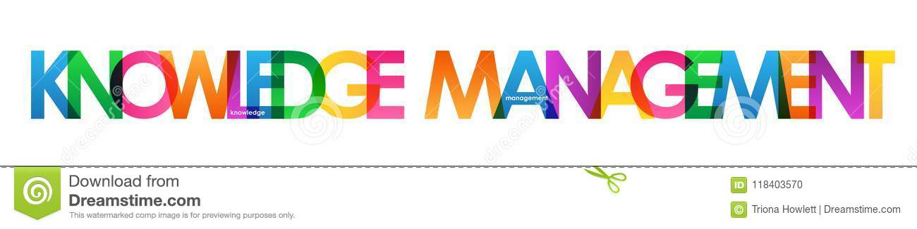 knowledge management colorful overlapping letters banner stock