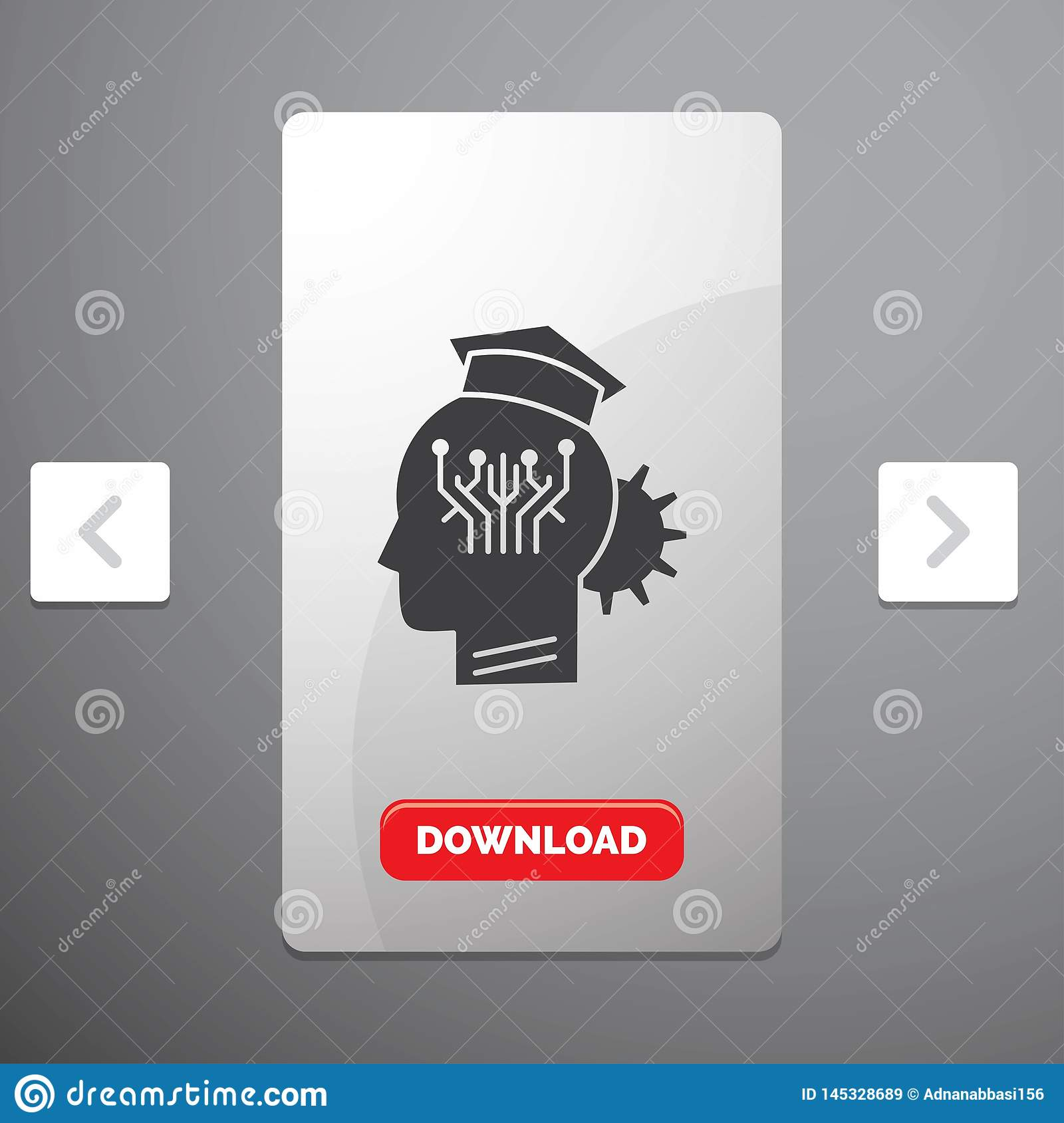 knowledge, management, sharing, smart, technology Glyph Icon in Carousal Pagination Slider Design & Red Download Button