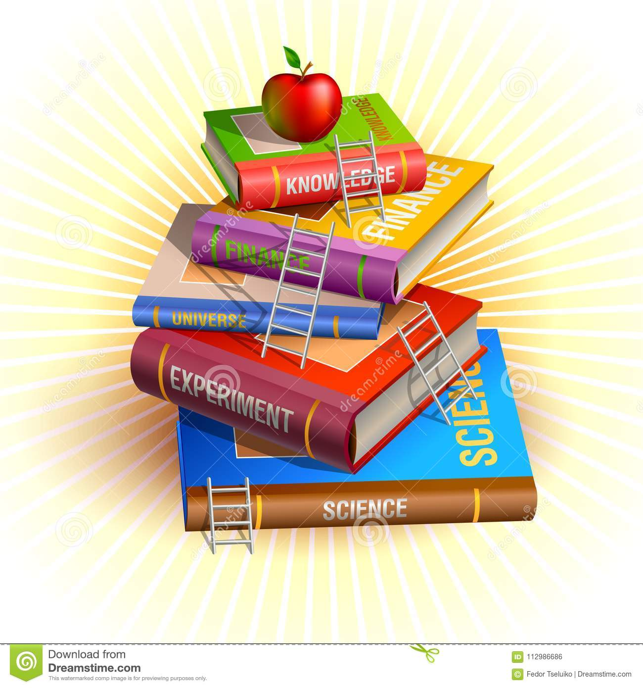 Knowledge pyramid hierarchy illustration. Books stairs and apple at the top