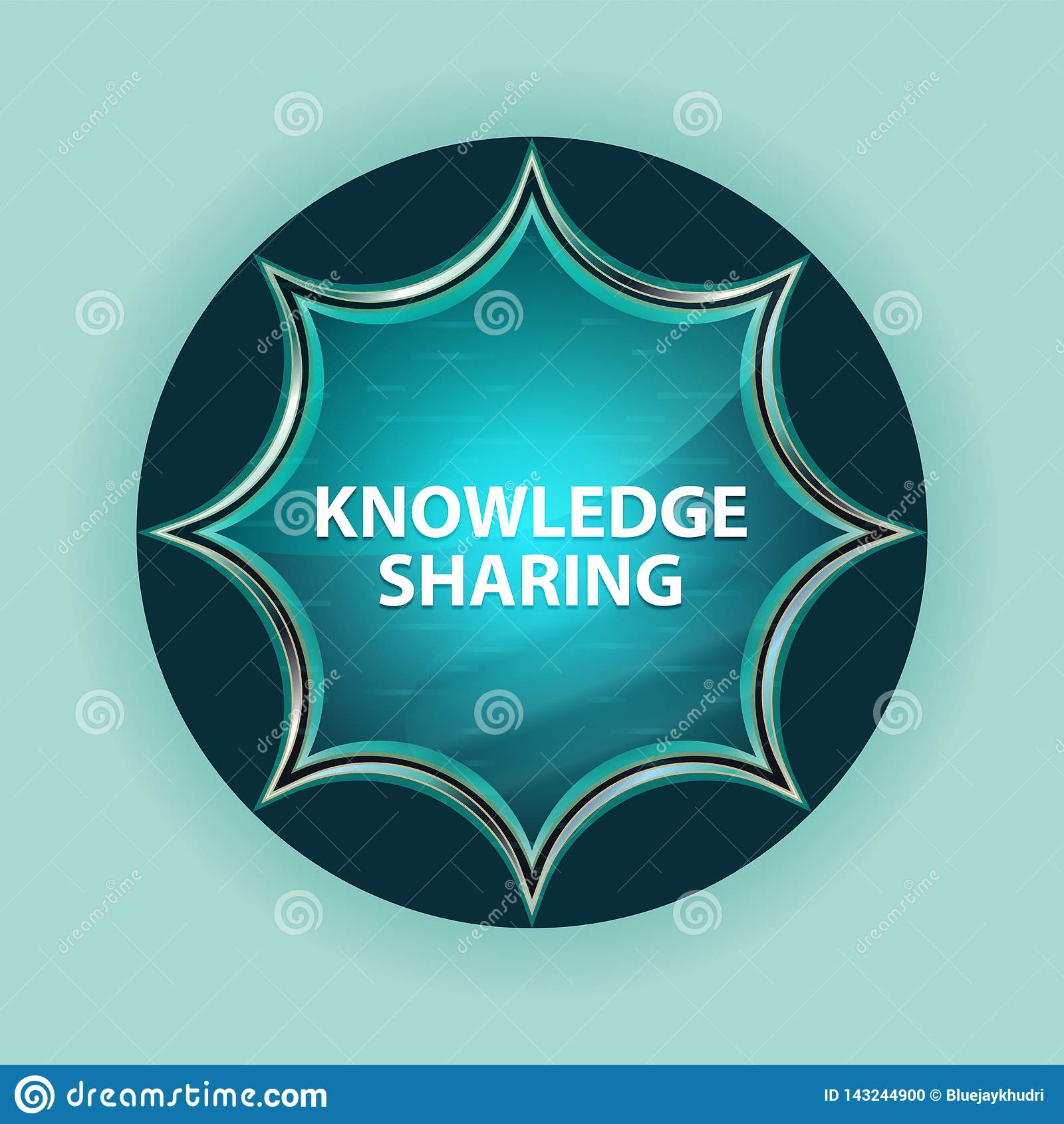 Knowledge Sharing magical glassy sunburst blue button sky blue background