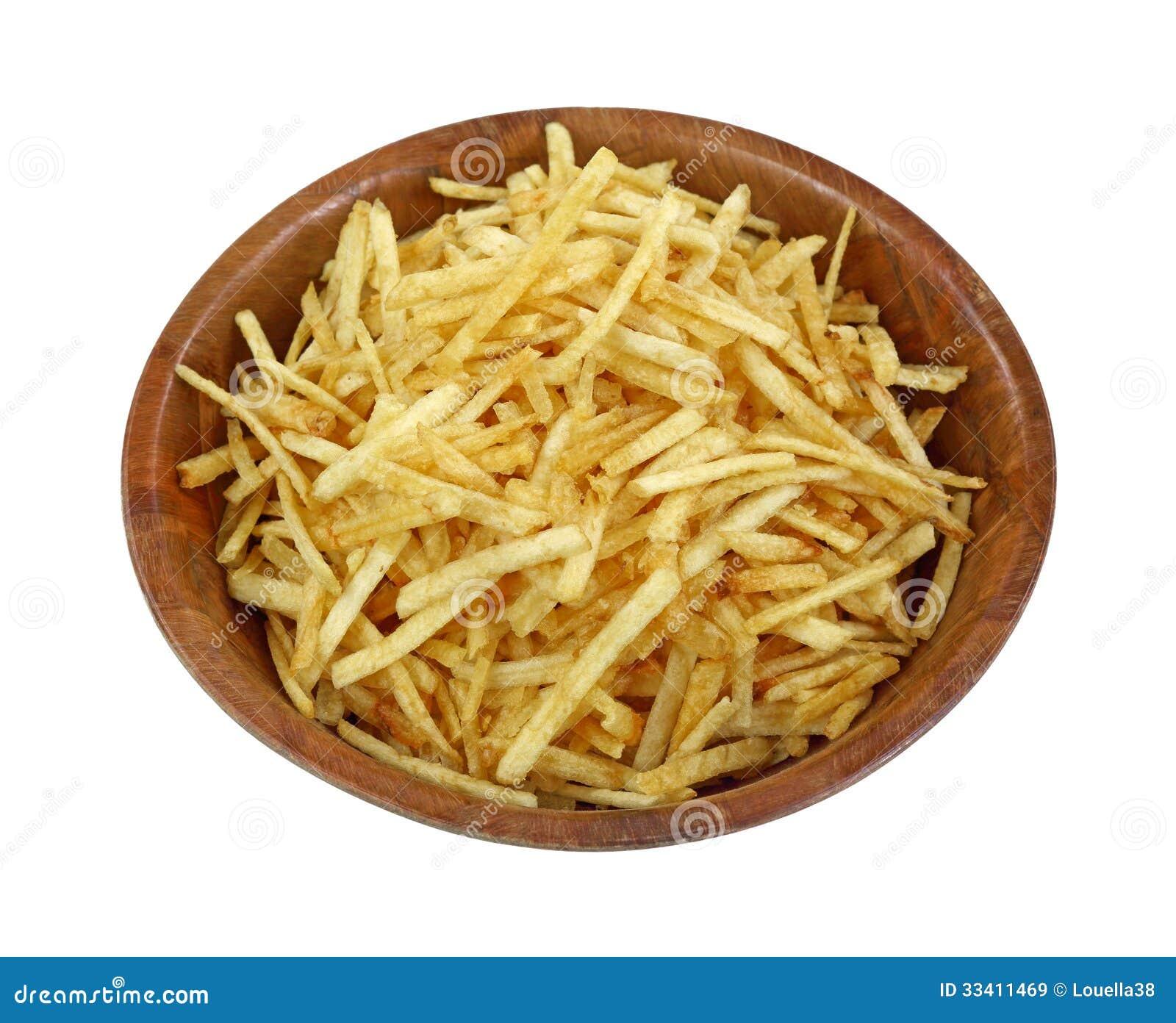 Knusperige feine Kartoffel haftet hölzerne Schüssel