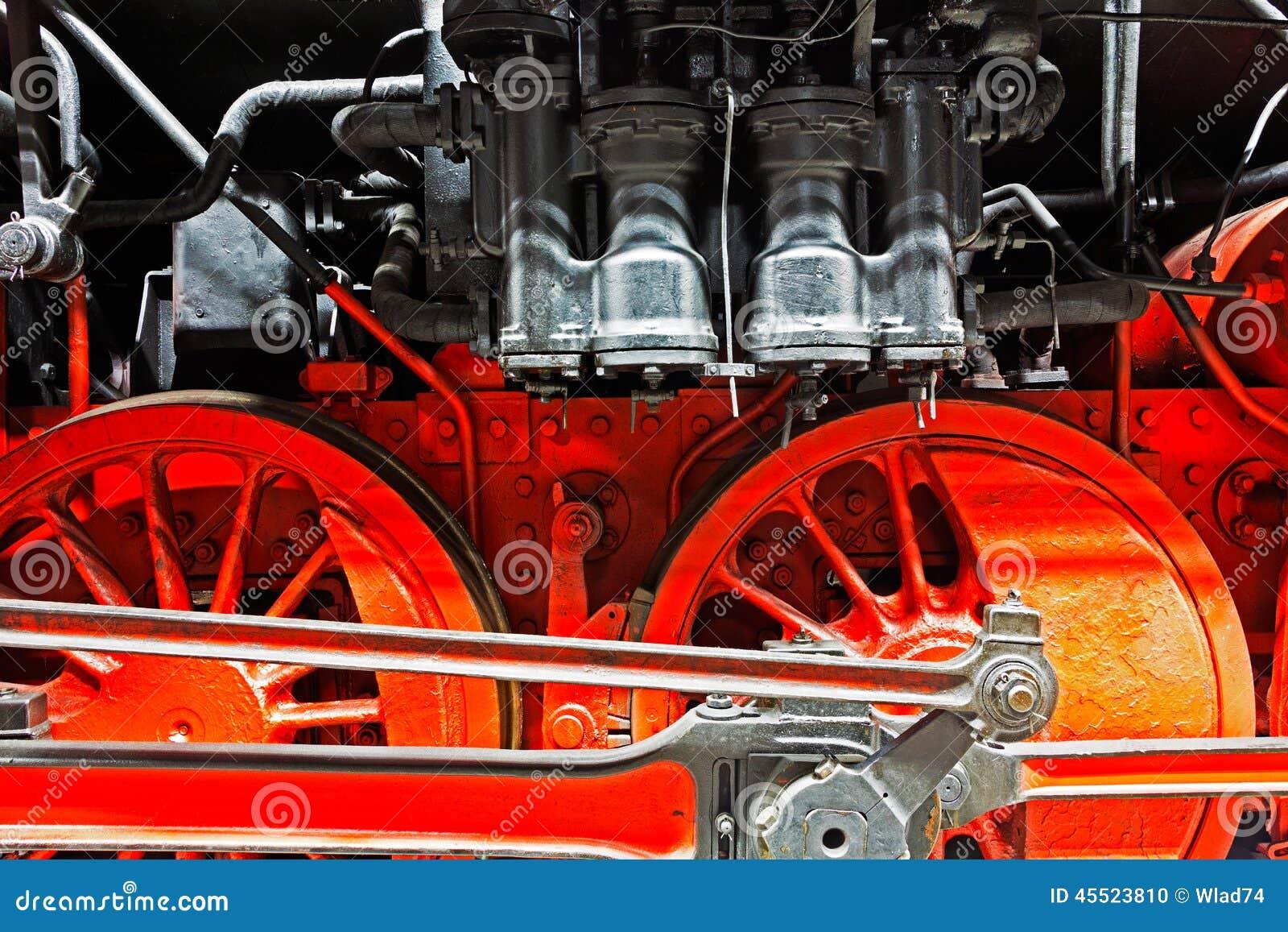 Koła stara lokomotywa na poręczach
