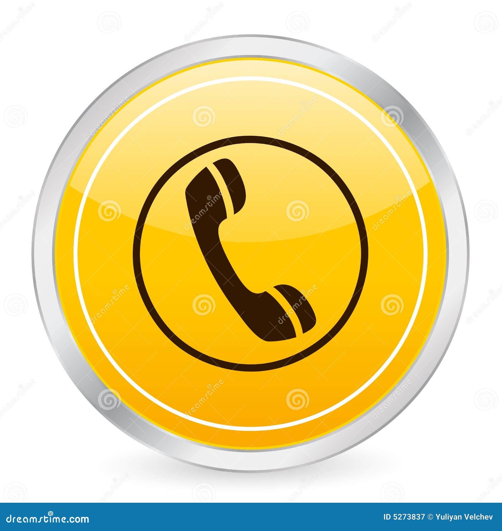 Koło telefonu ikony żółty