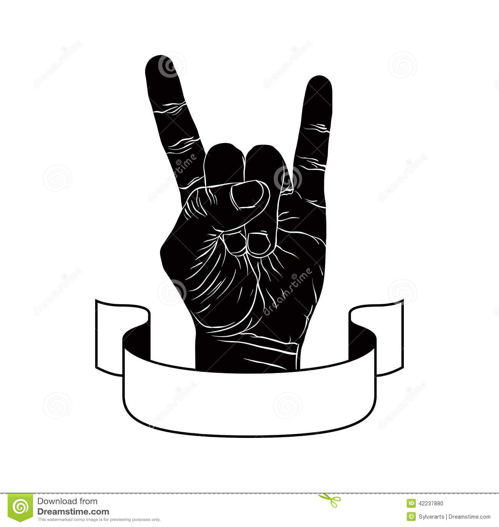 Kołysa na ręka kreatywnie znaku z faborkiem, muzyczny emblemat, rockowy n rol