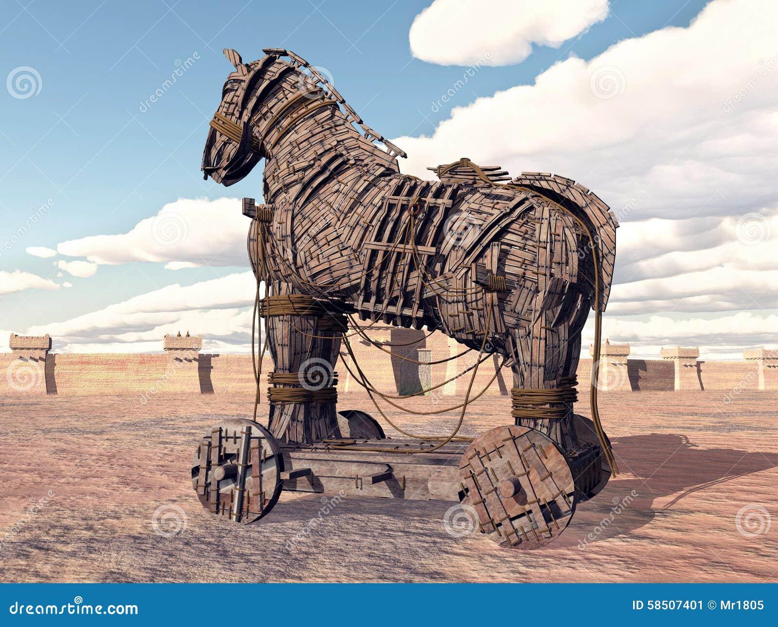 Koń Trojański Przy Troja Ilustracji Ilustracja Złożonej Z
