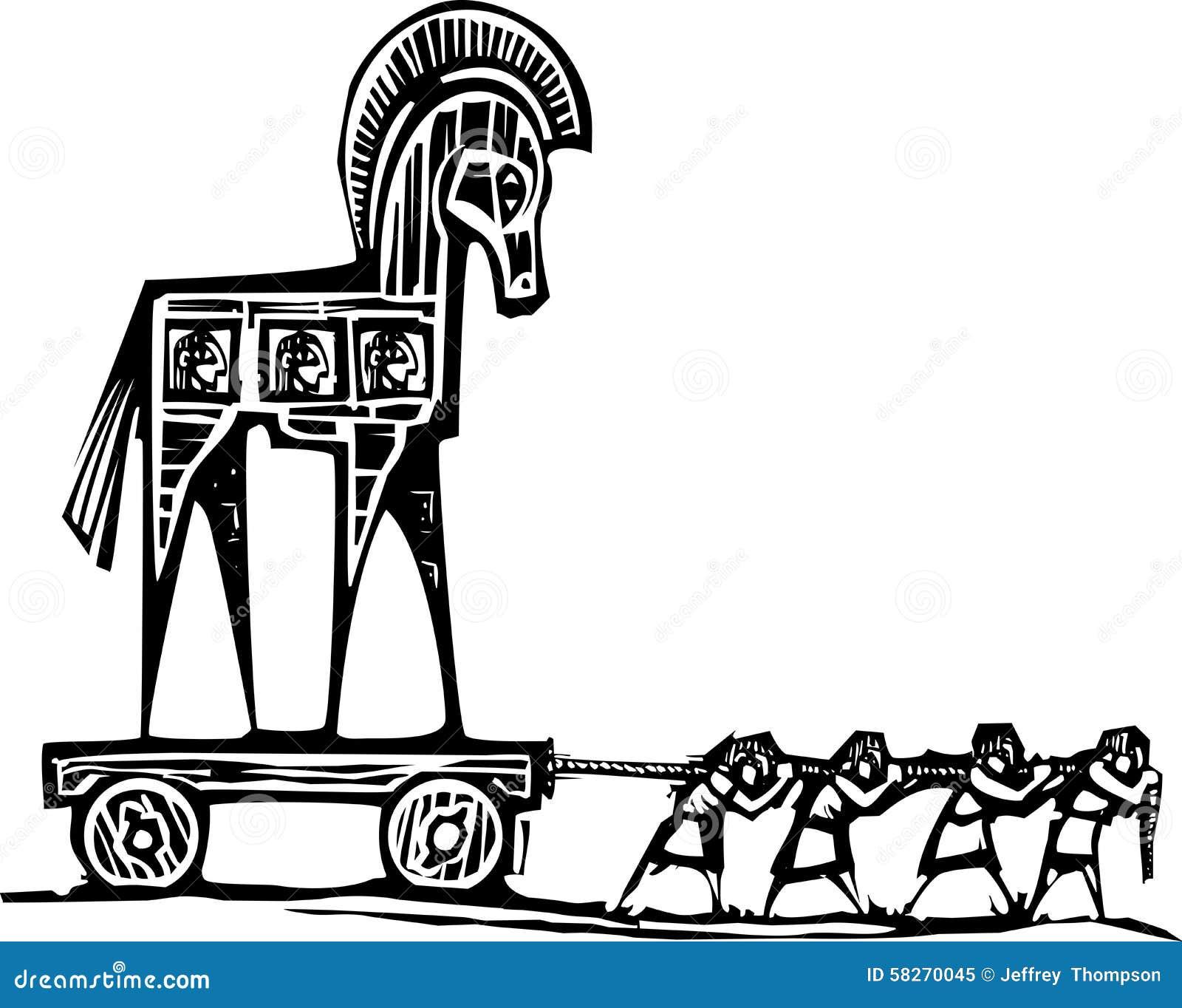 Koń Trojański Wlec Ilustracja Wektor Ilustracja Złożonej Z Sztuczka